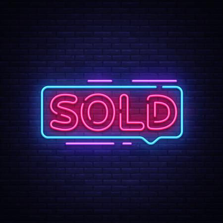 Sold Neon Text Vector. Sold neon sign, design template, modern trend design, night neon signboard, night bright advertising, light banner, light art. Vector illustration.