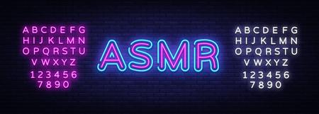 ASMR Neon Text Vector. Autonomous sensory meridian response neon sign, design template, modern trend design, night neon signboard, night bright advertising. Vector. Editing text neon sign Illustration