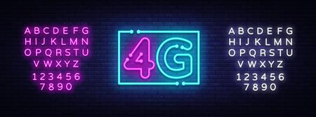 4G nouveau vecteur de signe au néon de connexion wifi internet sans fil. 4G Design modèle enseigne au néon, bannière lumineuse, enseigne au néon, publicité lumineuse nocturne, inscription lumineuse. Vecteur. Éditer l'enseigne au néon de texte
