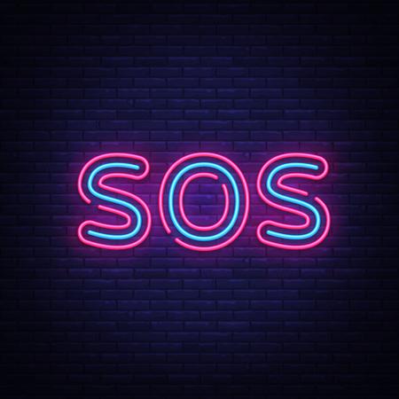 Sos neon text vector design template. Sos neon sign, light banner design element colorful modern design trend, night bright advertising, bright sign. Vector illustration. 免版税图像 - 125109505