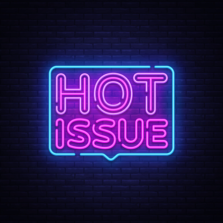 Hot Issue neon text vector design template. Hot Issue neon sign, light banner design element colorful modern design trend, night bright advertising, bright sign. Vector illustration. Illustration