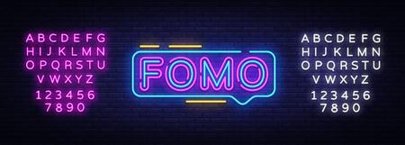 Fomo Neon Text Vector. Fomo neon sign, design template, modern trend design, night neon signboard, night bright advertising, light banner, light art. Vector. Editing text neon sign.