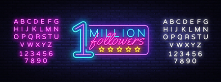 Million Followers neon text vector design template. One Million Subscribers light banner design element colorful modern design trend, night bright advertising. Vector. Editing text neon sign. Ilustrace