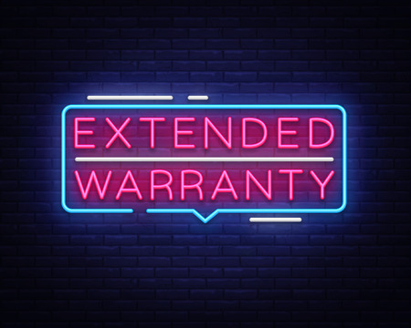 Extended Warranty neon sign vector. Extended Warranty template neon text, light banner, neon signboard, nightly bright advertising, light inscription. Vector illustration. 向量圖像
