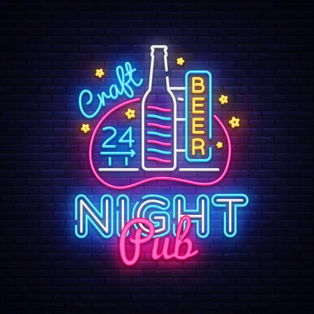 Pub Neon Signboard Vector. Beer Pub neon sign, design template, modern trend design, night neon signboard, night bright advertising, light banner, light art. Vector illustration.