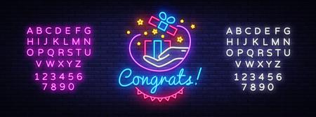 Congrats Neon Signboard Vector. Gift neon sign, design template, modern trend design, night neon signboard, night bright advertising, light banner, light art. Vector. Editing text neon sign.