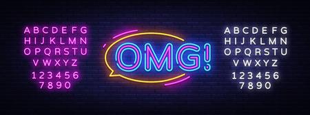 OMG neon sign vector. OMG pop art Design template neon sign, light banner, neon signboard, nightly bright advertising, light inscription. Vector illustration. Editing text neon sign. Ilustração