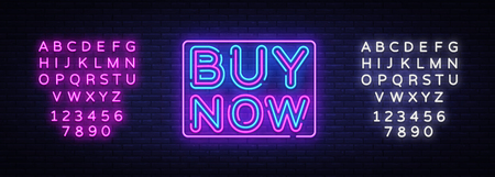Buy Now neon text vector design template. Buy Now neon sign, light banner design element colorful modern design trend, night bright advertising, bright sign. Vector. Editing text neon sign.