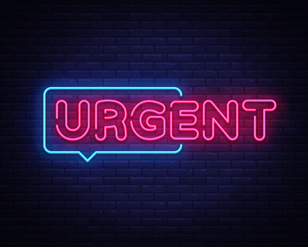 Urgent neon text vector design template. Urgent neon sign, light banner design element colorful modern design trend, night bright advertising, bright sign. Vector illustration. Иллюстрация