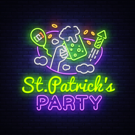 St. Patricks Party design template vector. St. Patrick greeting card, Light banner, neon style, night bright advertising. Vector illustration.