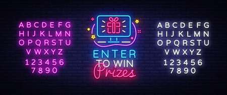 Enter to win Prizes neon sign vector design template. Gift neon design, light banner design element colorful modern design trend, night bright advertising, bright sign. Vector. Editing text neon sign.