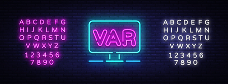 Video Assistant Referee neon sign vector. Soccer, football VAR System on the TV screen Design template neon sign, light banner, neon signboard, light inscription. Vector. Editing text neon sign. Illustration