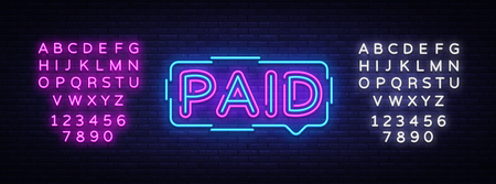 Paid neon sign vector. Paid Design template neon sign, light banner, neon signboard, nightly bright advertising, light inscription. Vector illustration. Editing text neon sign.