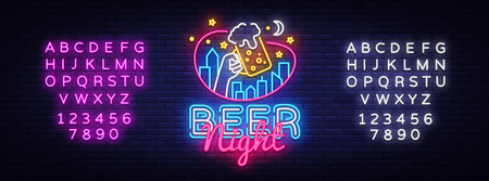Beer neon sign vector. Beer Night Design template neon sign, light banner, neon signboard, nightly bright advertising, light inscription. Vector illustration. Editing text neon sign. 스톡 콘텐츠 - 124856100