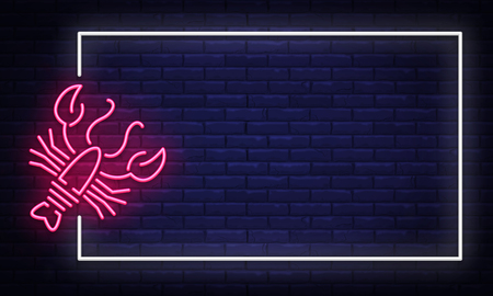 Seafood neon sign vector. Neon Frame Seafood Design template, light banner, night signboard, nightly bright advertising, light inscription. Vector illustration