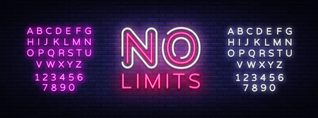 No Limits Neon Text Vector. No Limits neon sign, design template, modern trend design, night neon signboard, night bright advertising, light banner, light art. Vector. Editing text neon sign. Illustration