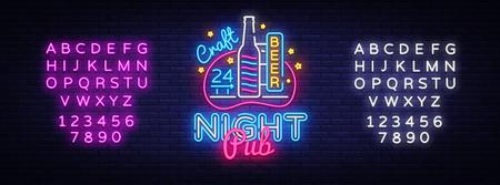 Pub Neon Signboard Vector. Beer Pub neon sign, design template, modern trend design, night neon signboard, night bright advertising, light banner, light art. Vector. Editing text neon sign. Ilustração