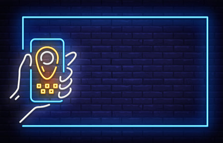 Taxi Neon Signboard in Frame Vector. Taxi neon sign, design template, modern trend design, night neon signboard, night bright advertising, light banner, light background. Vector illustration.