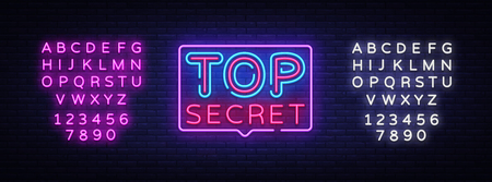 Top Secret neon text vector design template. Top Secret neon logo, light banner design element colorful modern design trend, night bright advertising, bright sign. Vector. Editing text neon sign.