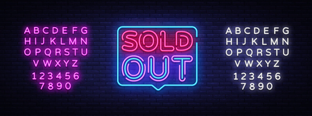 Sold Out neon text vector design template. Sold Out neon logo, light banner design element colorful modern design trend, night bright advertising, bright sign. Vector. Editing text neon sign.