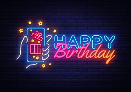 Happy Birthday neon sign vector. Happy Birthday concept with smartphone in hand Design template neon sign, light banner, neon signboard, nightly bright advertising. Vector illustration.