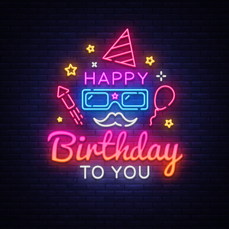 Happy Birthday Neon Signboard Vector. Happy Birthday neon sign, design template, modern trend design, night neon signboard, night bright advertising, light banner, light art. Vector illustration.