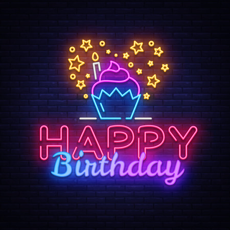 Happy Birthday neon sign vector design template. Happy Birthday neon logo, light banner design element colorful modern design trend, night bright advertising, bright sign. Vector illustration.