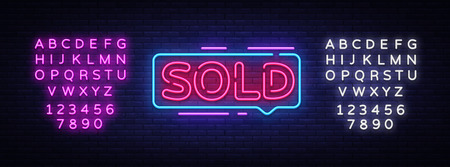 Sold Neon Text Vector. Sold neon sign, design template, modern trend design, night neon signboard, night bright advertising, light banner, light art. Vector. Editing text neon sign.