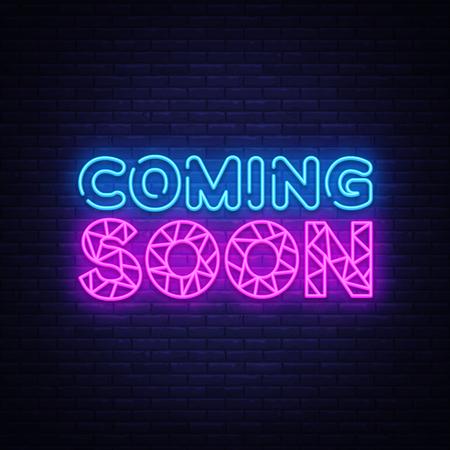 Coming Soon insegna al neon vettore. Coming Soon Design template neon sign, light banner, neon signboard, nightly bright advertising, light inscription. Illustrazione vettoriale Vettoriali