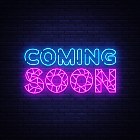 Coming Soon neon sign vector. Coming Soon Design template neon sign, light banner, neon signboard, nightly bright advertising, light inscription. Vector illustration Zdjęcie Seryjne - 118742478