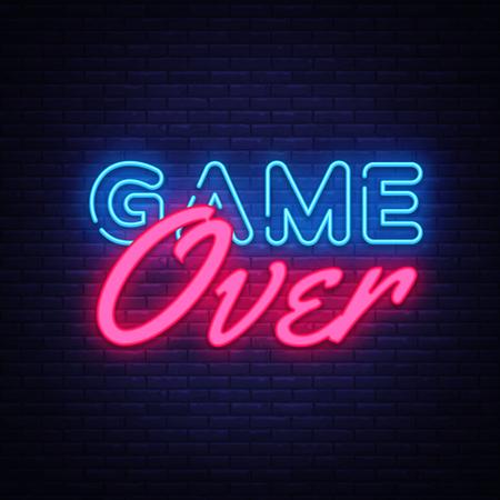 Juego sobre el vector de texto de neón. Letrero de neón Game Over, plantilla de diseño de juegos, diseño de tendencia moderna, letrero de neón nocturno, publicidad luminosa nocturna, banner de luz, arte de luz. Ilustración de vector. Ilustración de vector