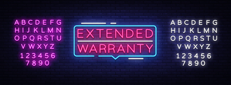 Extended Warranty neon sign vector. Extended Warranty template neon text, light banner, neon signboard, nightly bright advertising, light inscription. Vector. Editing text neon sign.