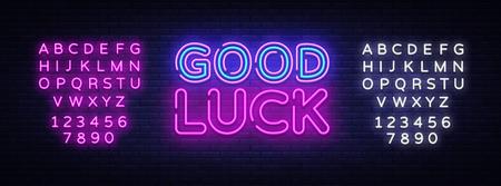 Good luck neon sign vector. Good luck Design template neon sign, light banner, neon signboard, nightly bright advertising, light inscription. Vector illustration. Editing text neon sign.