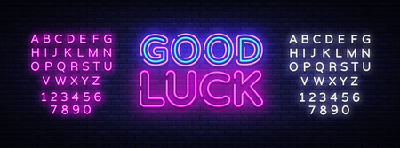 Good luck neon sign vector. Good luck Design template neon sign, light banner, neon signboard, nightly bright advertising, light inscription. Vector illustration. Editing text neon sign.