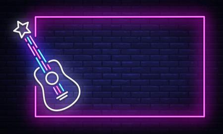 Rockmusik-Leuchtreklamevektor. Neon Frame Rock Star Design-Vorlage, Lichtbanner, Nachtschild, nächtliche helle Werbung, Lichtinschrift. Vektor-Illustration