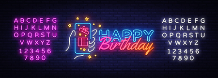 Happy Birthday neon sign vector. Happy Birthday concept with smartphone in hand Design template neon sign, light banner, neon signboard, nightly bright advertising. Vector. Editing text neon sign.