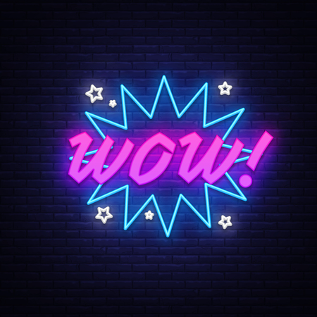 WOW neon sign vector. Comic speech bubble with expression text Wow, Design template neon sign, light banner, neon signboard, light inscription. Vector illustration Stock Vector - 118742481