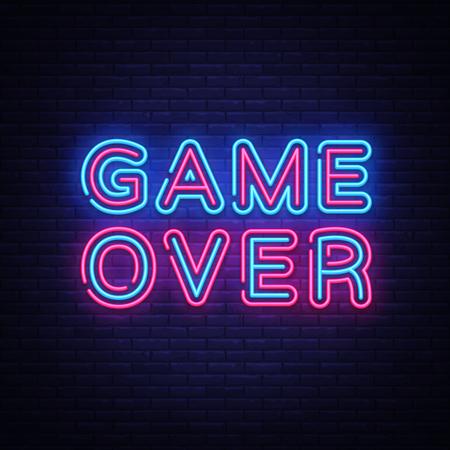 Game Over Neon Text Vector. Game Over neon sign, Gaming design template, modern trend design, night neon signboard, night bright advertising, light banner, light art. Vector illustration. Ilustração