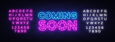 Coming Soon neon sign vector. Coming Soon Design template neon sign, light banner, neon signboard, nightly bright advertising, light inscription. Vector illustration. Editing text neon sign