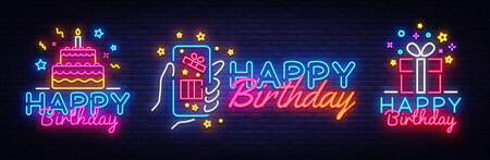 Big collectin neon signs for Happy Birthday. Neon Banner Vector. Happy Birthday neon sign, design template, modern trend design, night light signboard, night bright advertising. Vector illustration.
