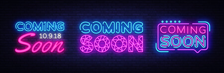 Big collection neon signs Coming Soon. Coming Soon Neon Banner Vector. Design template, modern trend design, night light signboard, night bright advertising. Vector illustration Illustration