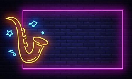 Jazz Music Neon Signboard in Frame Vector. Live music neon sign, design template, modern trend design, night neon signboard, night bright advertising, light banner. Vector illustration.