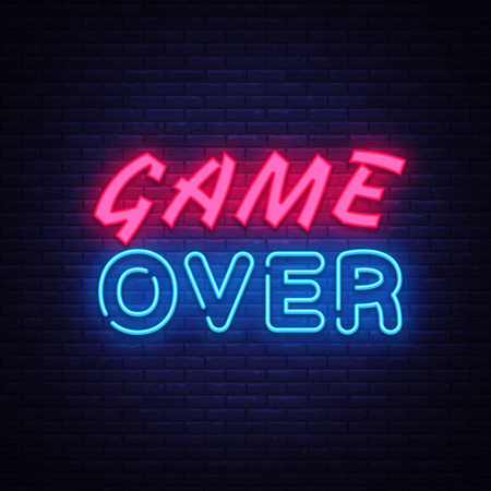 Game Over neon text vector design template. Game Over neon logo, light banner design element colorful modern design trend, night bright advertising, bright sign. Vector illustration.
