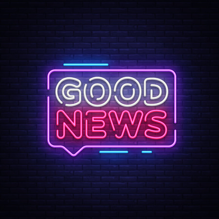 Good News neon sign vector. Good News Design template neon signboard, light banner, neon signboard, nightly bright advertising, light inscription. Vector illustration.