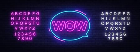 Wow Neon Text Vector. Wow pop art neon sign, design template, modern trend design, night neon signboard, night bright advertising, light banner, light art. Vector. Editing text neon sign. Illustration