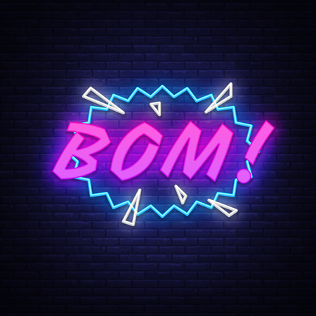 BOM neon text vector design template. Comic speech bubble BOM in neon style, light banner design element colorful modern design trend, night bright advertising, bright sign. Vector illustration.