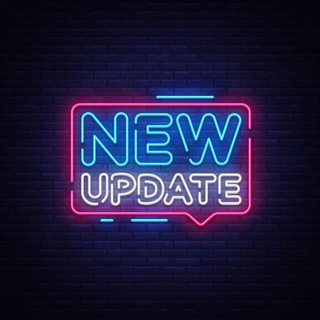 New Update Neon Text Vector. New Update neon sign, design template, modern trend design, night neon signboard, night bright advertising, light banner, light art. Vector illustration.