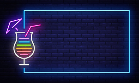 Cocktail neon sign vector design template. Night Club neon frame light banner design element, colorful modern design trend, night bright advertising, bright sign. Vector illustration.