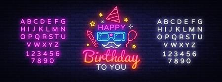 Happy Birthday Neon Signboard Vector. Happy Birthday neon sign, design template, modern trend design, night neon signboard, night bright advertising, light art. Vector. Editing text neon sign. Ilustração