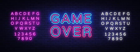Game Over Neon Text Vector. Game Over neon sign, Gaming design template, modern trend design, night neon signboard, night bright advertising, light banner, light art. Vector. Editing text neon sign. Ilustração